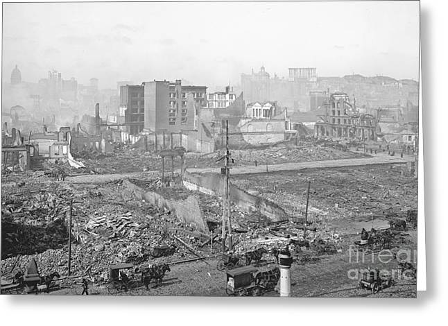 1906 Earthquake Damage To Nob Hill In San Francisco Greeting Card by Padre Art
