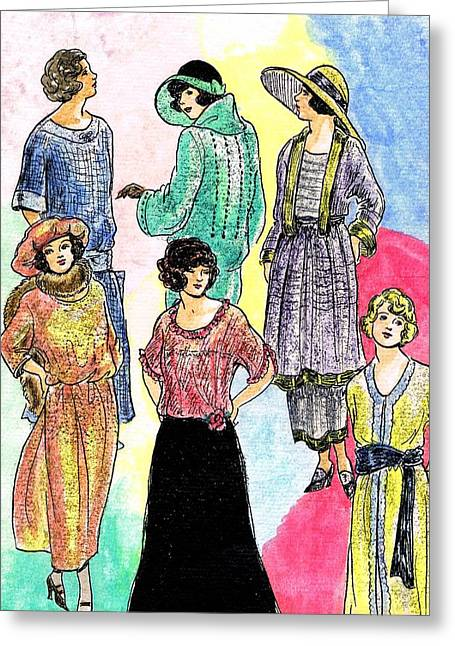 1910s Models Greeting Card by Mel Thompson