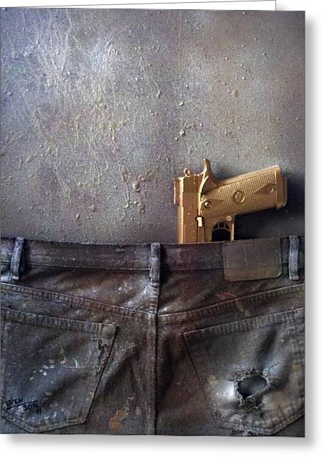 1911 Jeans Greeting Card by Bryan  Evenson