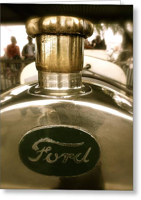 1918 Ford Model T Indianapolis Hood Badge Greeting Card by John Colley
