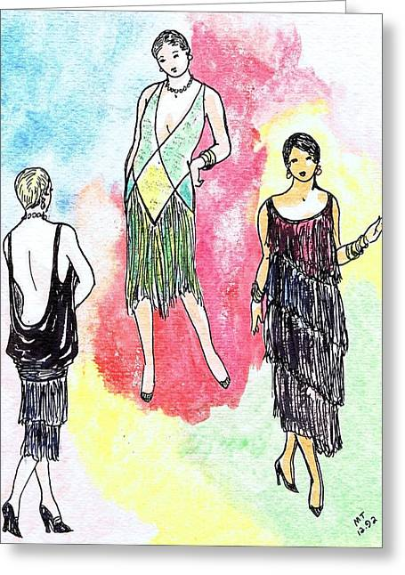 1920s Gals 2 Greeting Card by Mel Thompson