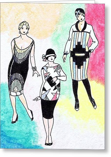 1920s Gals 3 Greeting Card by Mel Thompson