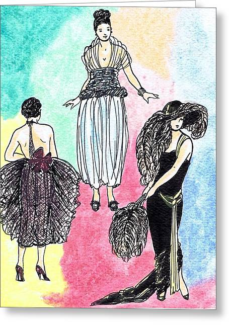 1920s Gals 4 Greeting Card by Mel Thompson
