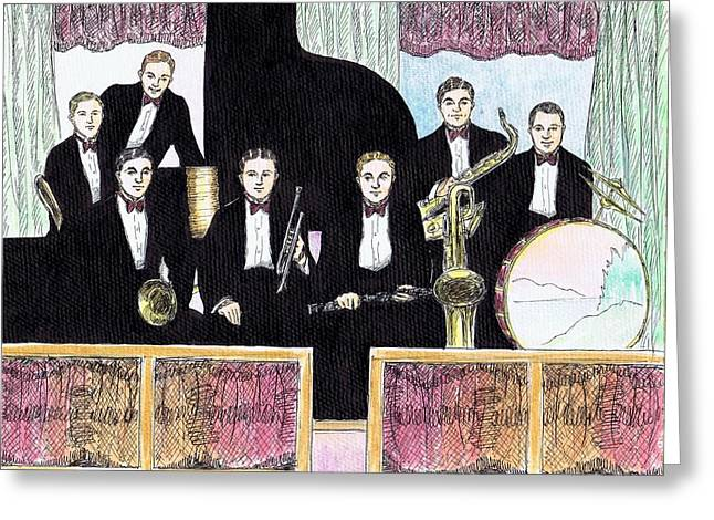1920s Jazz Band With Curtains Greeting Card by Mel Thompson