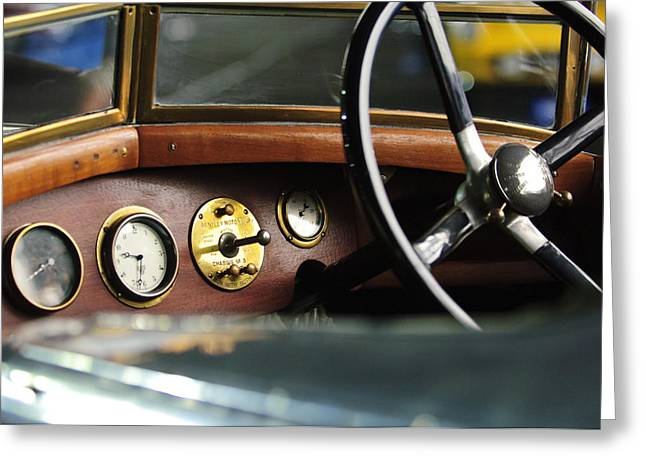 1921 Bentley  Instruments And Steering Wheel Greeting Card by Jill Reger