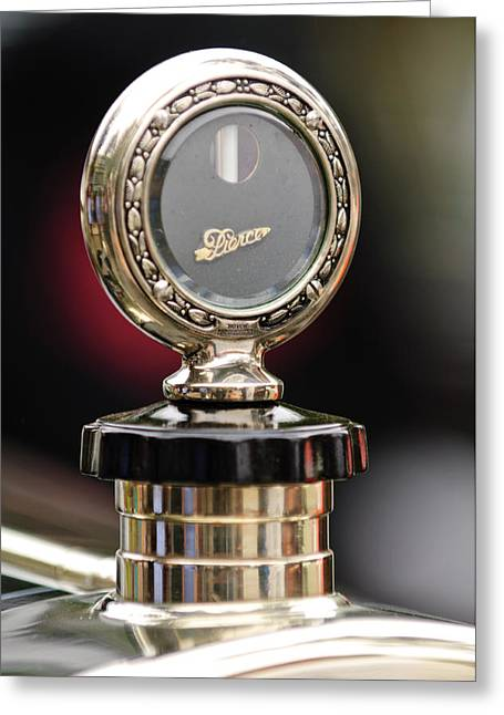 1927 Pierce-arrow Limousine Motometer Hood Ornament Greeting Card by Jill Reger