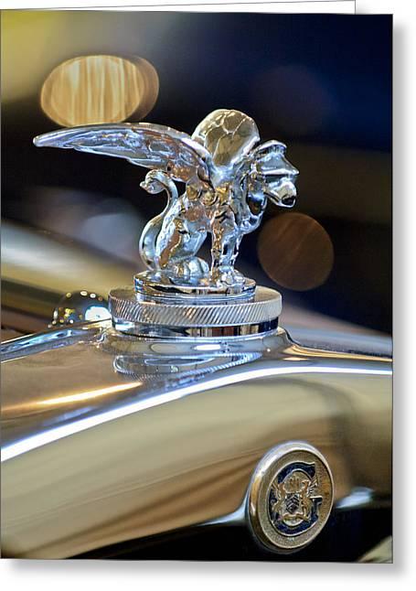1929 Gardner Series 120 Eight-in-line Roadster Hood Ornament 3 Greeting Card