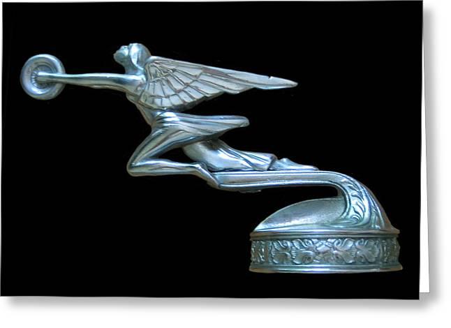 1929 Packard Goddess Of Speed Greeting Card by Jack Pumphrey