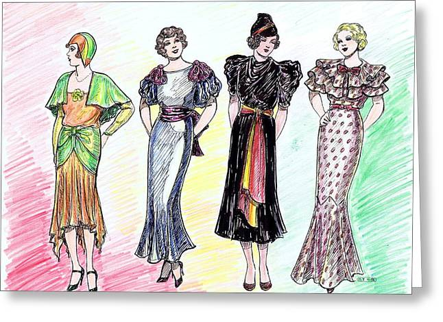 1930s Dresses Greeting Card by Mel Thompson