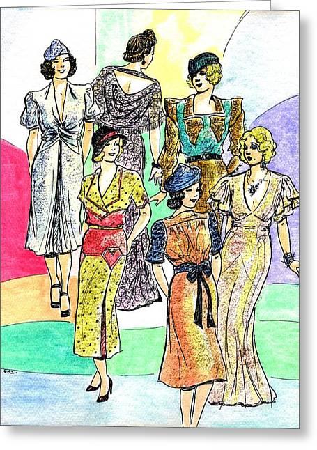 1930s Fashions Greeting Card by Mel Thompson