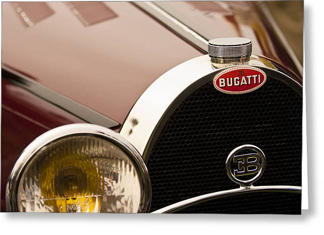 1931 Bugatti Type 55 Roadster Grille Emblem Greeting Card by Jill Reger