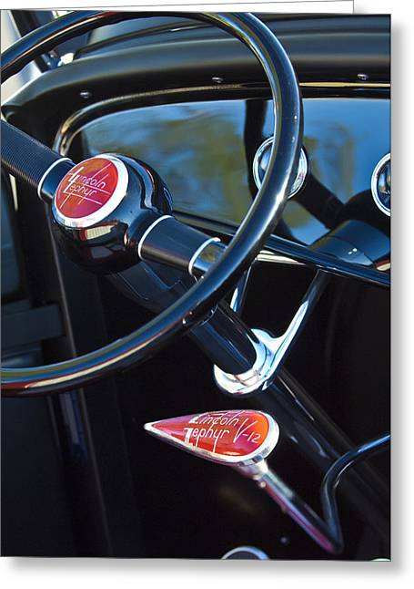 1932 Hot Rod Lincoln V12 Steering Wheel Emblem Greeting Card by Jill Reger