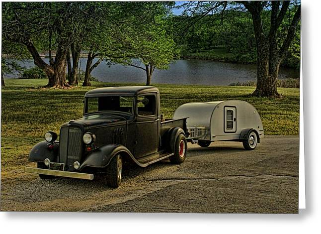 1934 Chevrolet Pickup Plus Camper Greeting Card by Tim McCullough