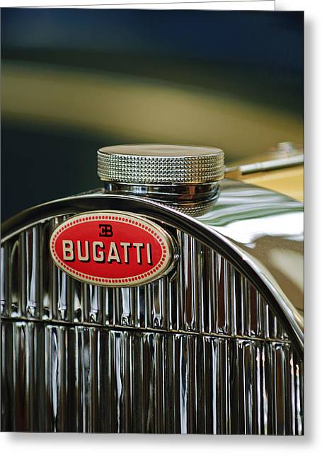 1935 Bugatti Type 57 Grand Raid Roadster Emblem Greeting Card by Jill Reger