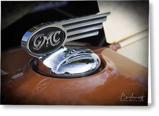 1936 Gmc Pickup Truck Hood Ornament Greeting Card by Robin Lewis