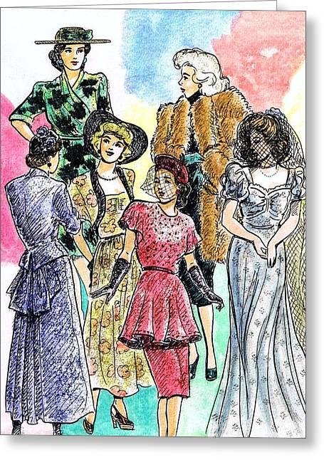 1940s Fashions Greeting Card by Mel Thompson