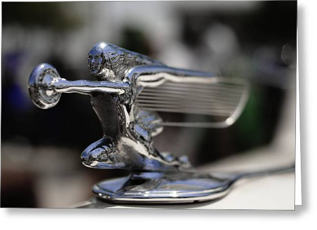 1940's Packard Hood Ornament Greeting Card by Julie VanDore