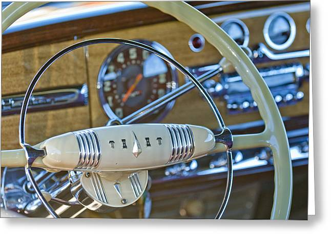 1949 Hudson Commodore 6 Convertible Steering Wheel Greeting Card by Jill Reger