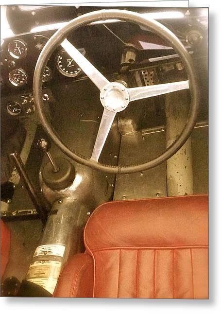 1952 Aston Martin Db3 Cockpit Greeting Card by John Colley