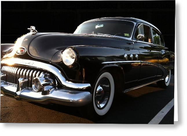1952 Buick In Black Greeting Card by Elizabeth Coats