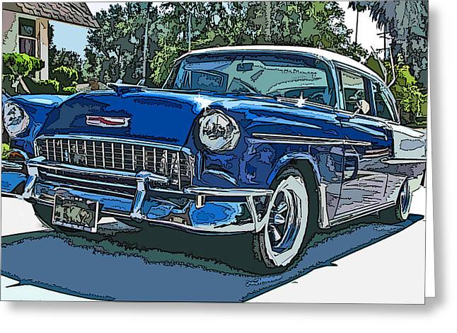 1955 Chevy Bel Air Greeting Card by Samuel Sheats
