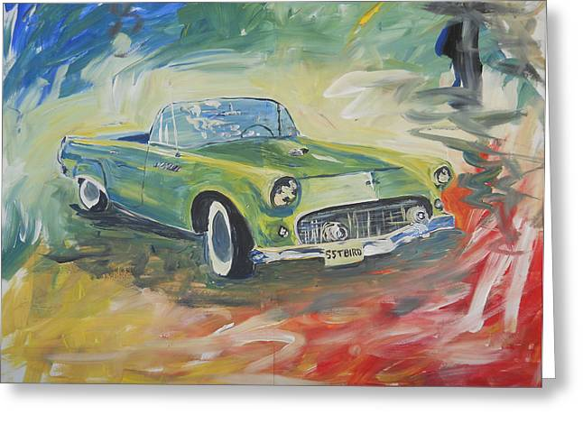 1955 Green Tbird Greeting Card by Candace Nalepa