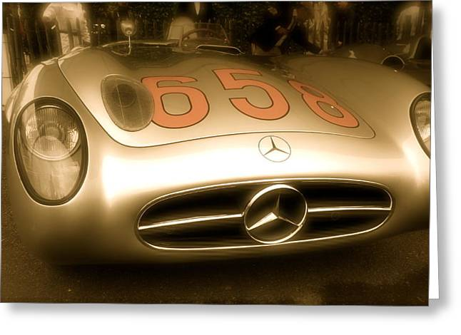 1955 Mercedes Benz 300slr Fangio Greeting Card by John Colley