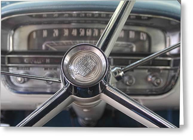 1956 Cadillac Steering Wheel Greeting Card by Linda Phelps
