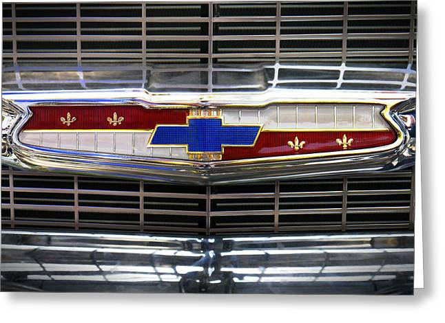 1956 Chevrolet Grill Emblem Greeting Card by Mike McGlothlen