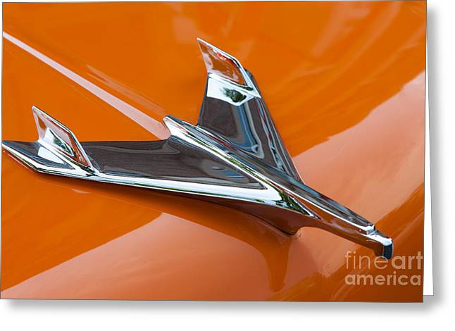 1956 Chevy Bel Air Hood Ornament I Greeting Card by Clarence Holmes