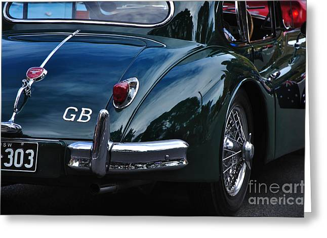 1956 Jaguar Xk 140 - Rear And Emblem Greeting Card by Kaye Menner