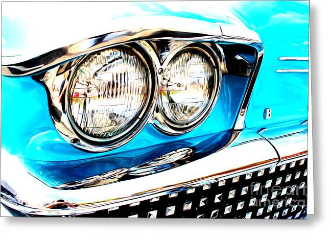 Greeting Card featuring the digital art 1958 Buick by Tony Cooper