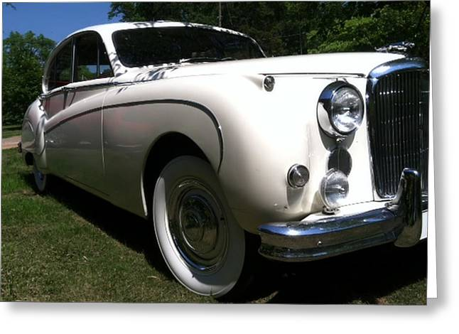 Greeting Card featuring the photograph 1959 White Jaguar by Elizabeth Coats