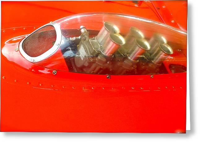 1960 Ferrari 246s Dino Hood Detail Greeting Card by John Colley