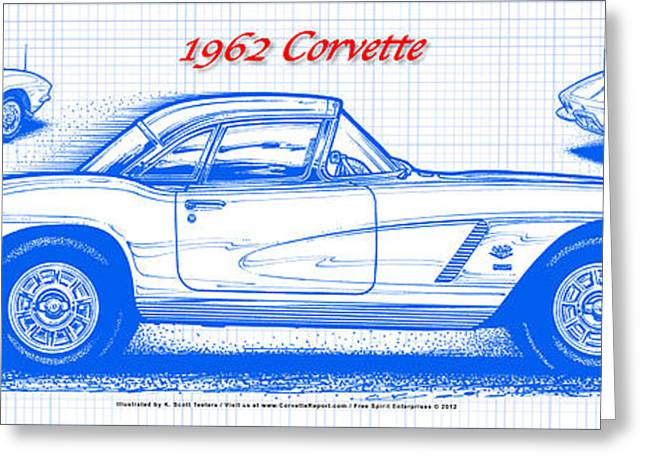 1962 Corvette Blueprint Greeting Card