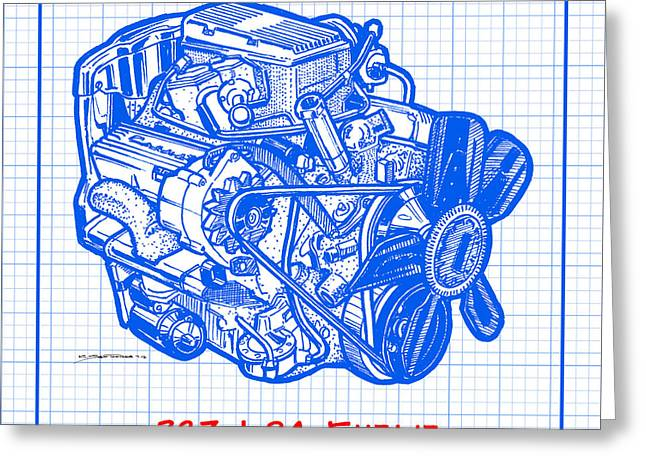 1963 - 1965 L84 327 Corvette Fuelie Engine Blueprint Greeting Card