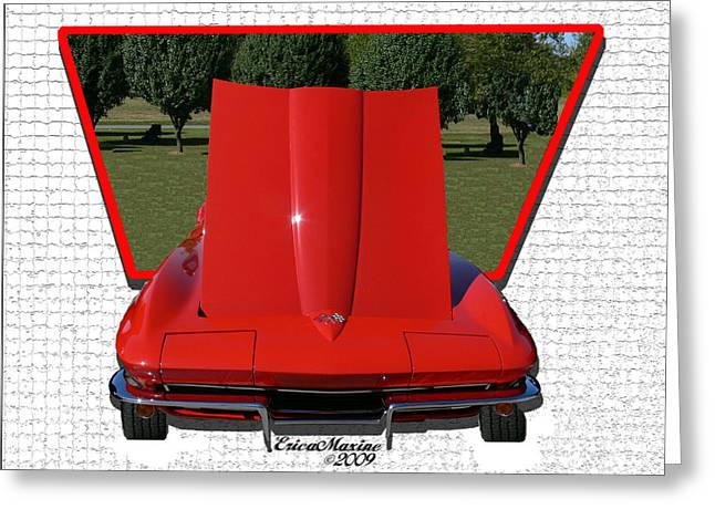 Greeting Card featuring the photograph 1965 Corvette by EricaMaxine  Price