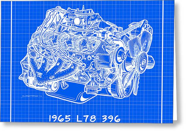 1965 l78 396 big block corvette engine reverse blueprint drawing by 1965 l78 396 big block corvette engine reverse blueprint greeting card by k scott teeters malvernweather Image collections