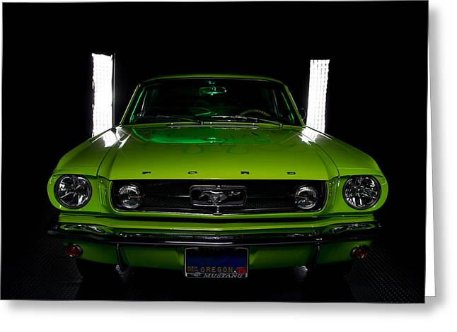 Greeting Card featuring the photograph 1965 Mustang by Jim Boardman