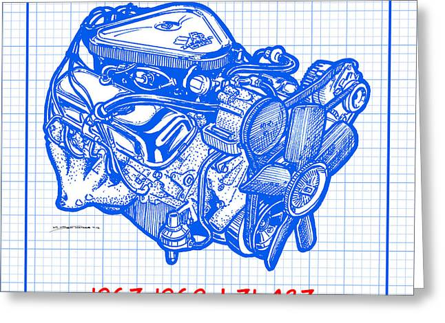 1967 - 1969 L71 427-435 Corvette Engine Blueprint Greeting Card