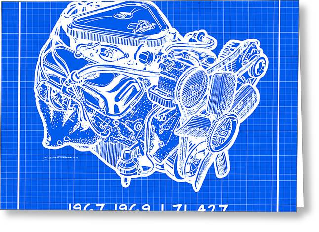 1967 - 1969 L71 427-435 Corvette Engine Reverse Blueprint Greeting Card