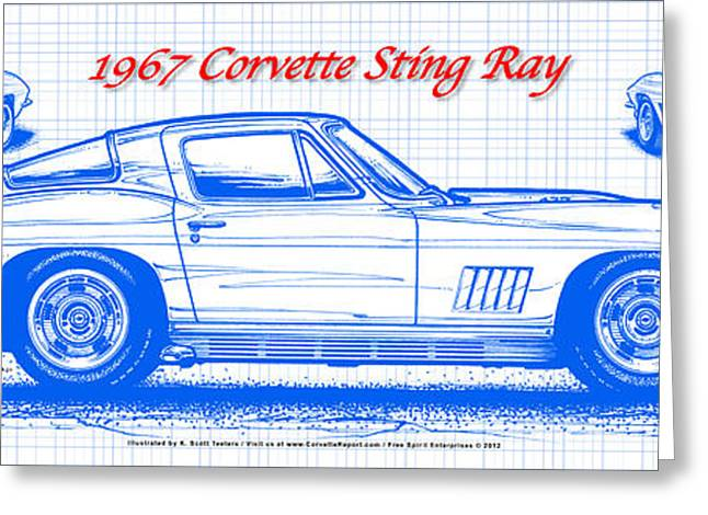 1967 Corvette Sting Ray Coupe Blueprint Greeting Card
