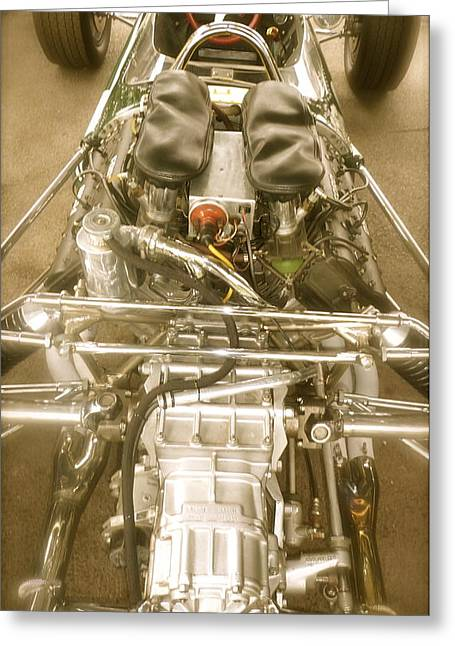 1967 Graham Hill Lotus Cosworth 49 Engine And Chassis Greeting Card by John Colley