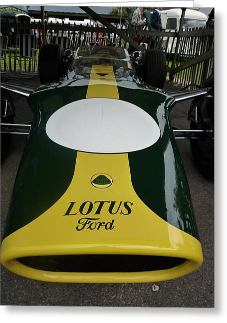 1967 Graham Hill Lotus Cosworth 49 Greeting Card by John Colley