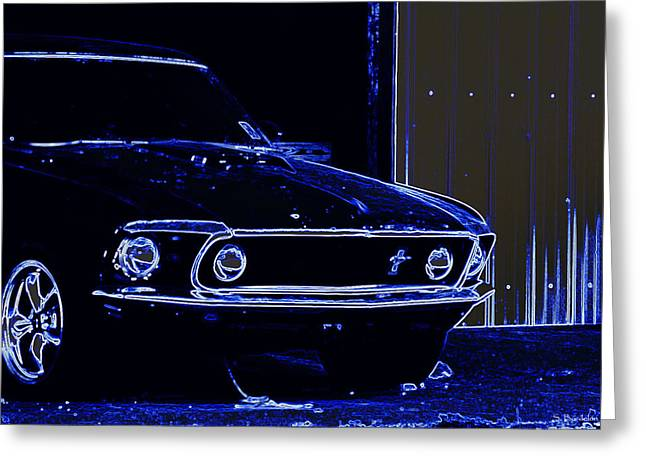 1969 Mustang In Neon Greeting Card by Susan Bordelon
