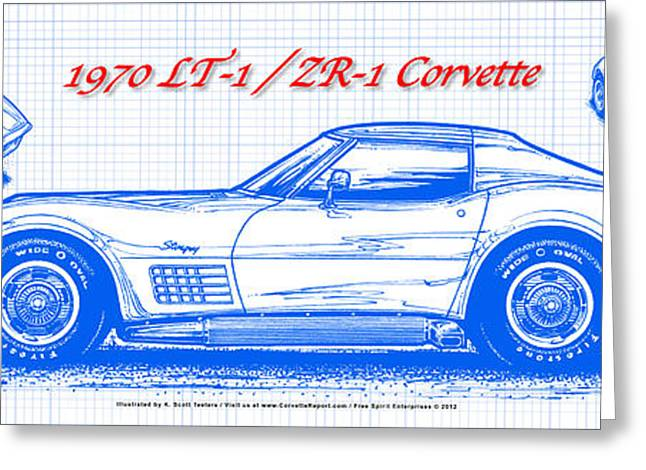 1970 Lt-1 And Zr-1 Corvette Blueprint Greeting Card