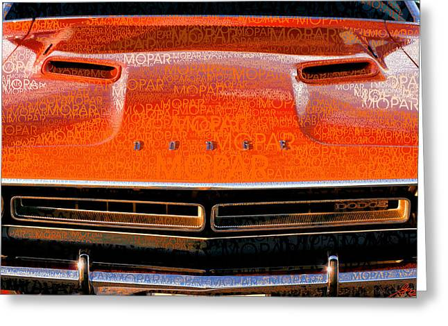 1971 Dodge Challenger - Orange Mopar Typography - Mp002 Greeting Card