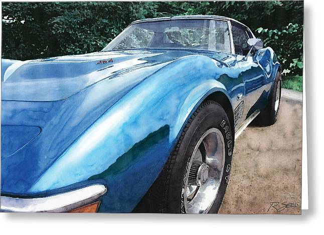 Greeting Card featuring the painting 1972 Blue Corvette Stingray by Rod Seel