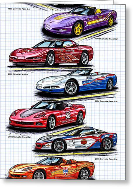 Greeting Card featuring the drawing 1978 - 2008 Indy 500 Corvette Pace Cars by K Scott Teeters