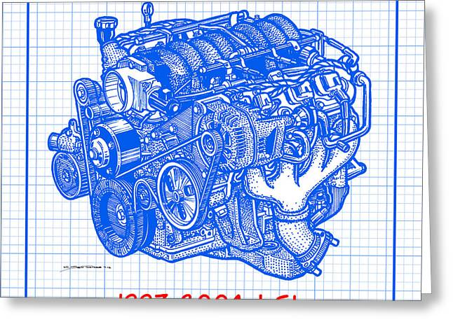 1997 - 2004 Ls1 Corvette Engine Blueprint Greeting Card